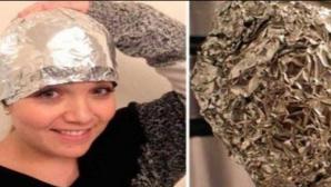 Truc fascinant: Şi-a pus folie de aluminiu pe cap după ce s-a spălat şi a uimit hair stiliştii
