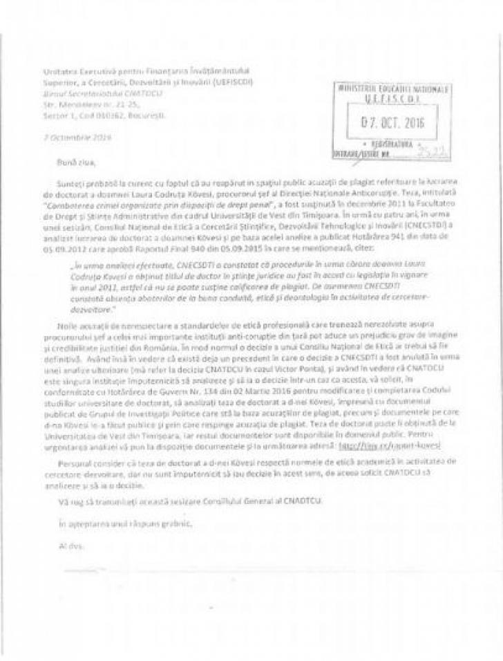 Kovesi, dată pe mâna CNATDCU de omul care a făcut sesizările în cazurile Ponta, Oprea şi Tobă
