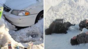 Mama și doi copii au murit în mașină în timp ce tatăl curăța zăpada