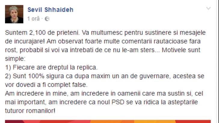 Sevil Shhaideh, prima reacție la comentariile ,,răutăcioase''. PSD: Sevil nu are cont de Facebook