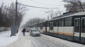 Circulația tramvaielor de pe linia 41 a fost blocată miercuri dimineață
