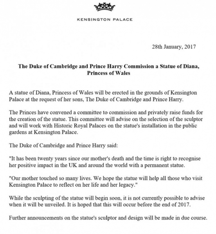 Anunţ de ultimă oră al Casei Regale britanice. La 20 de ani de la moartea Prinţesei Diana,fii săi...