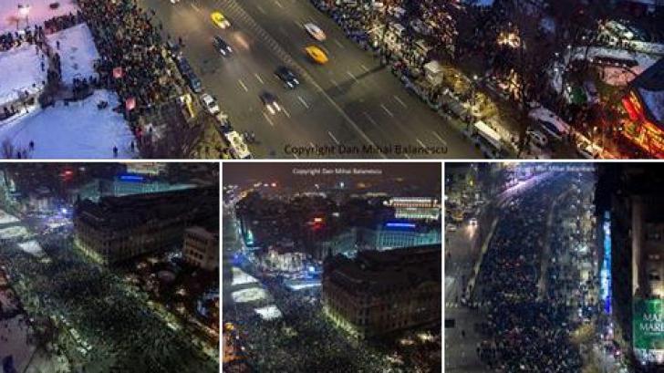 Imaginea impresionantă din Piața Universității, la protestul de duminică seară