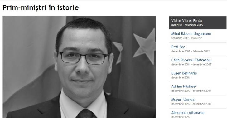 Dacian Cioloş, absent de pe site-ul Guvernului, din istoricul premierilor. Istoria începe cu Ponta