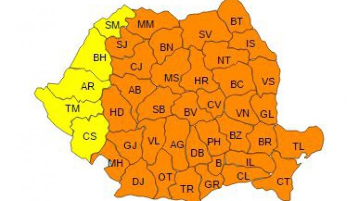 Cod PORTOCALIU de ger în aproape toată țara: Temperaturi de până la -29 de grade