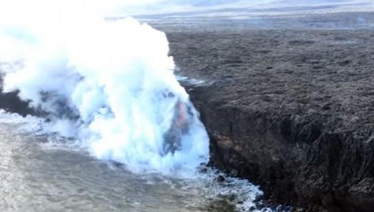 """Faleza unei insule a căzut din cauza unui """"robinet de lavă"""". Totul a fost filmat"""