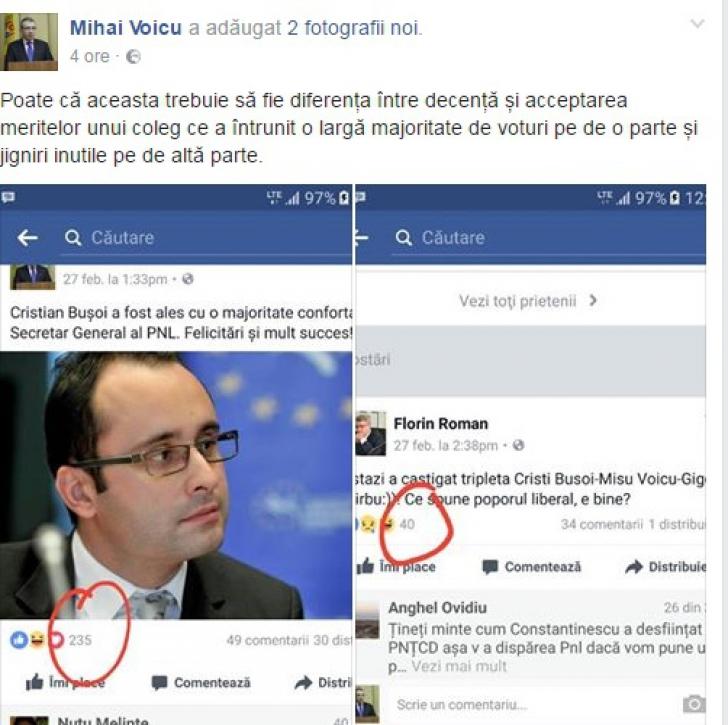 """Lupta de putere din PNL, în etapa """"Eu mai multe like-uri pe Facebook"""". Ce a postat Mişu Voicu"""