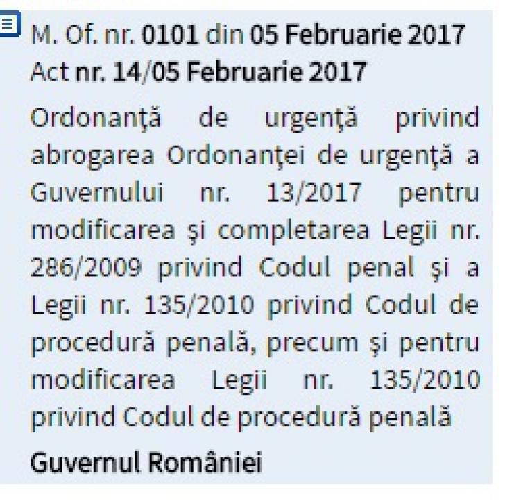 Ordonanţa de Urgenţă care a scos România în stradă a fost abrogată şi publicată în Monitorul Oficial
