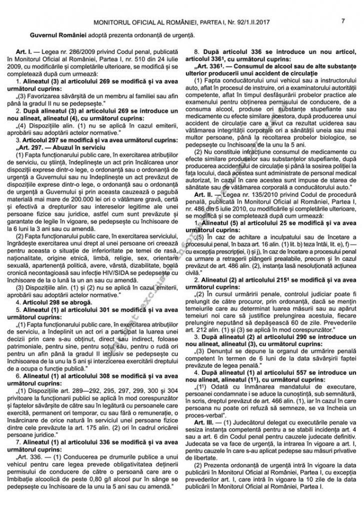 Ordonanţa de Urgenţă pentru modificarea Codurilor Penale, publicată în Monitorul Oficial