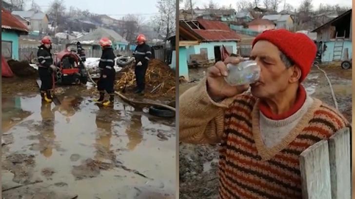 Bătaie de joc! Ce face un bărbat din Vaslui în timp ce pompierii se luptă să-i scoată apa din curte