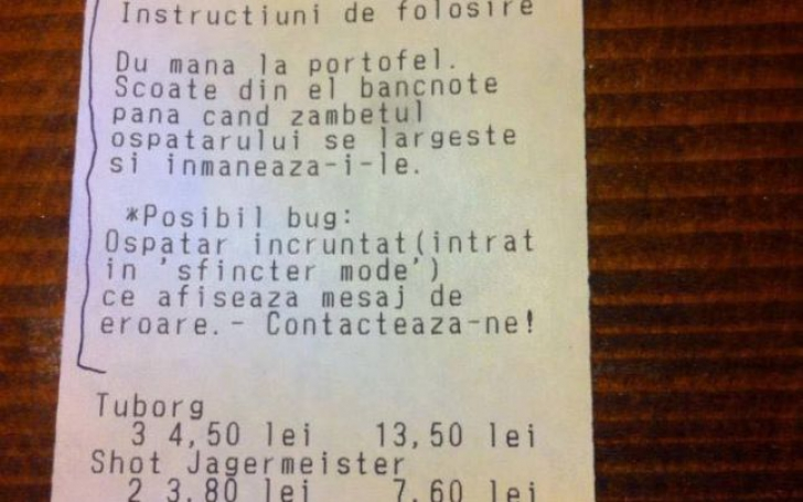 """Bonurile fiscale dintr-un bar au devenit virale pe internet. """"Primele trei produse sunt..."""""""