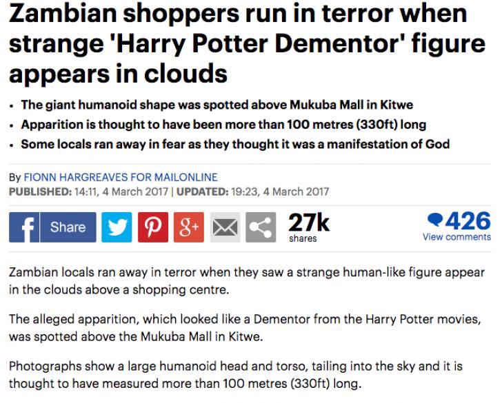 Apariţie şocantă, pe cer: forma cu aspect uman i-a înspăimântat pe locuitori. Imaginea, virală