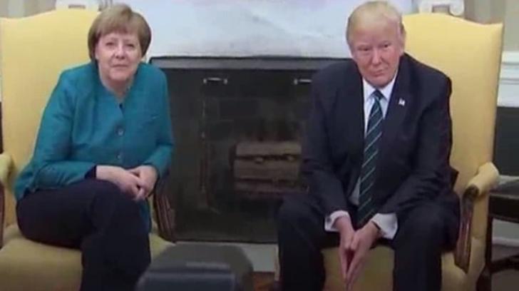 Momente stânjenitoare cu Merkel și Trump. Întrevederea mult așteptată a început cu stângul