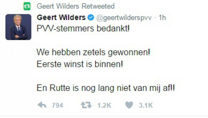 REZULTATE ALEGERI OLANDA. Extremistul Geert Wilders, prima reacție după înfrângere