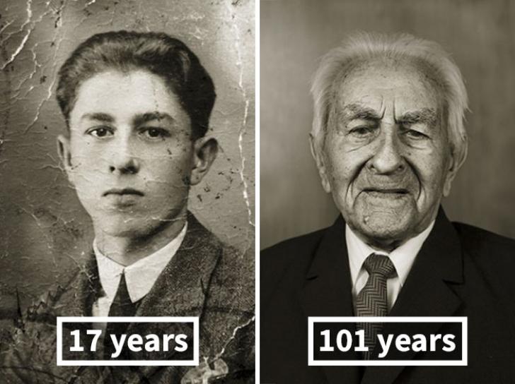 Fotografii inedite cu oameni care au trecut de 100 de ani! Tinerețea pusă în contrast cu bătrânețea