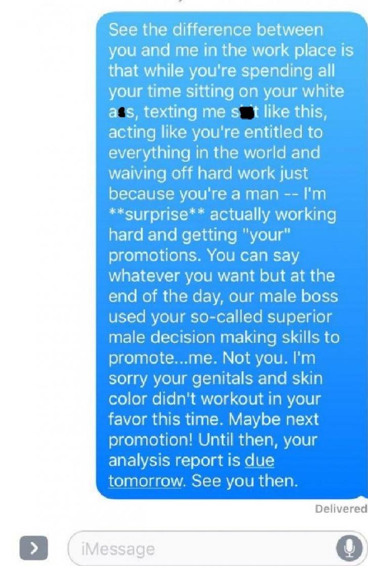 Răspunsul perfect al unei tinere pentru colegul misogin care s-a plâns că a fost promovată