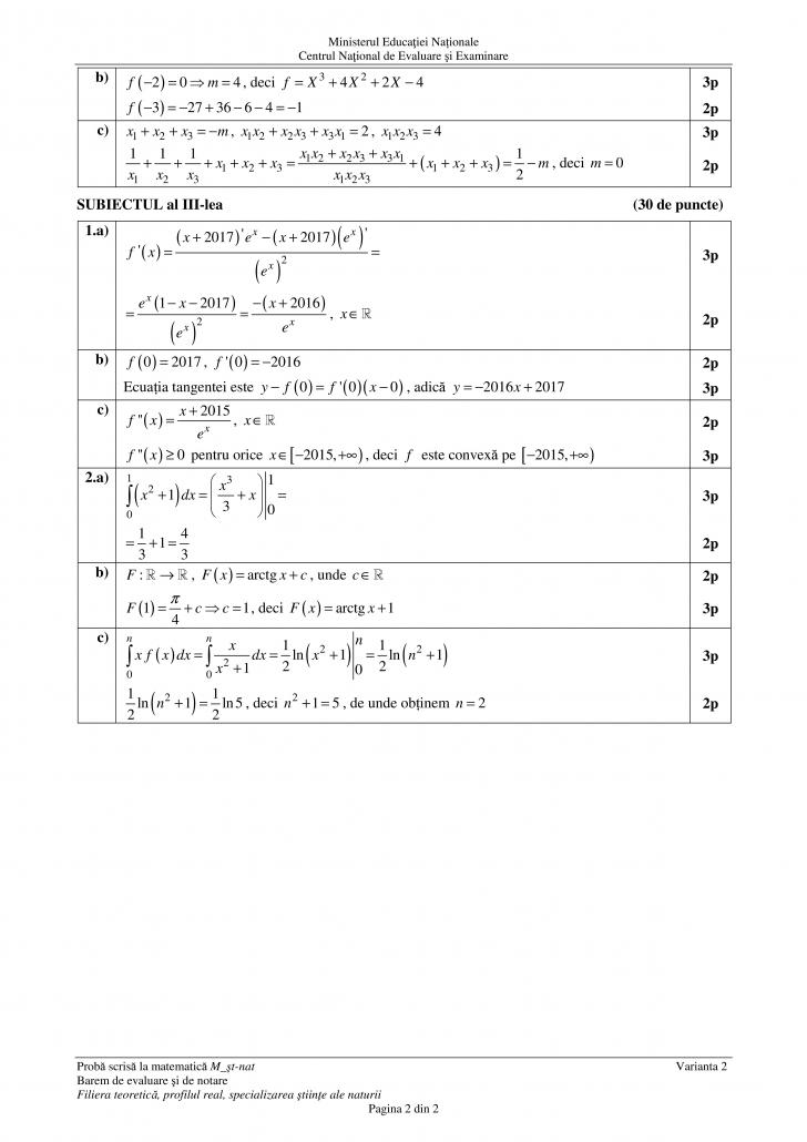 Subiecte Matematica M2 – BAC 2017 – Integralele, spaima elevilor. Nu au scapat nici in acest an