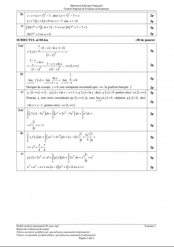 barem matematica mate info M1 bac 2017