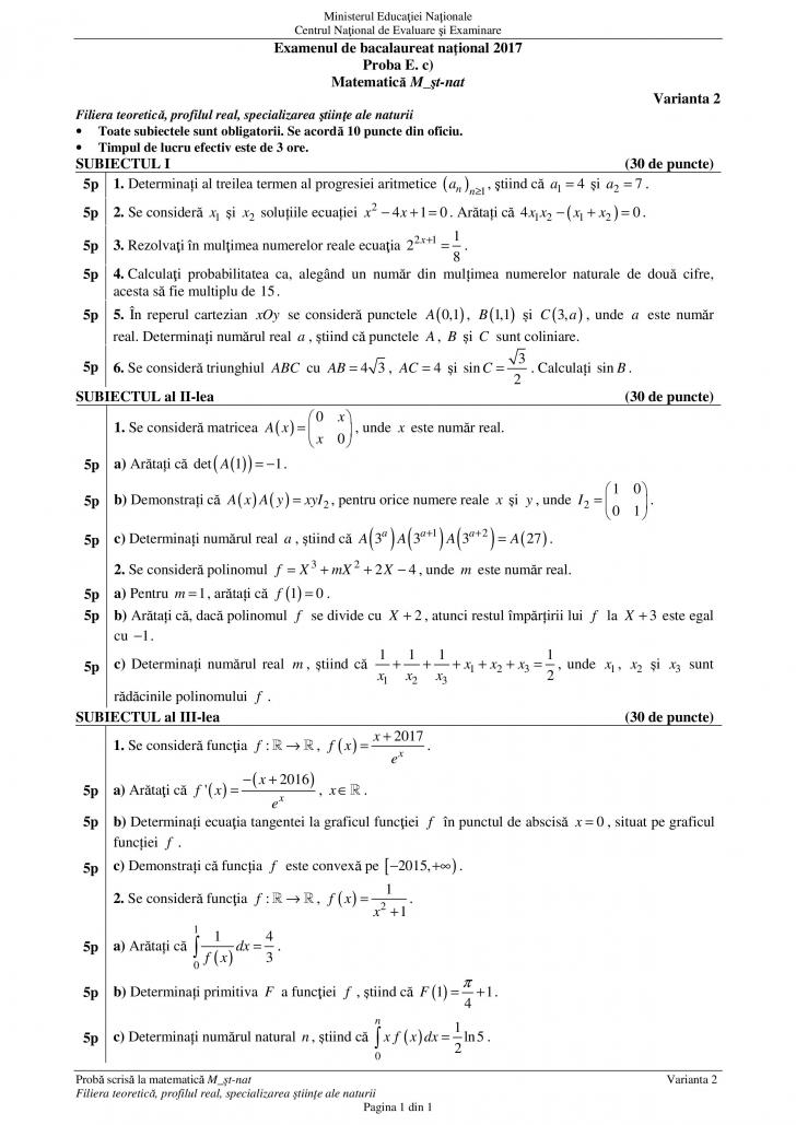 Subiecte şi Barem de corectare MATEMATICĂ M1, M2, M3 - BAC 2017