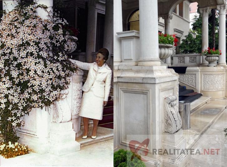 Intrare Palatul Primaverii. Foto stanga: inainte de 1989. Foto dreapta: in prezent (Cristian Otopeanu)