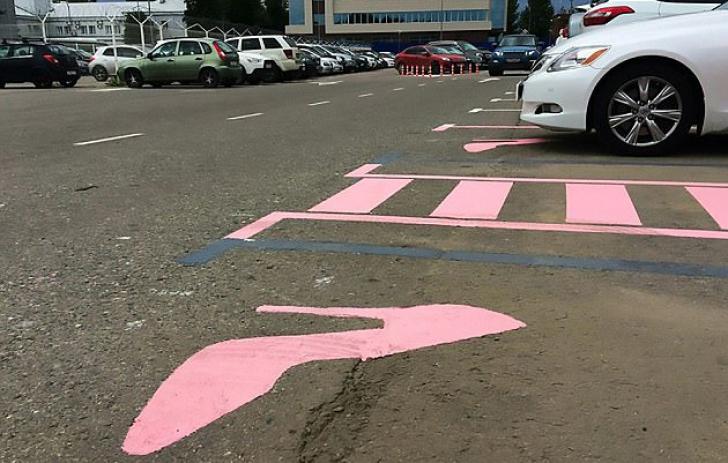 Pantoful roz din parcare