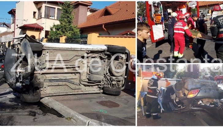 Accident groaznic în Constanța! Două mașini s-au răsturnat, iar două persoane au fost încarcerate