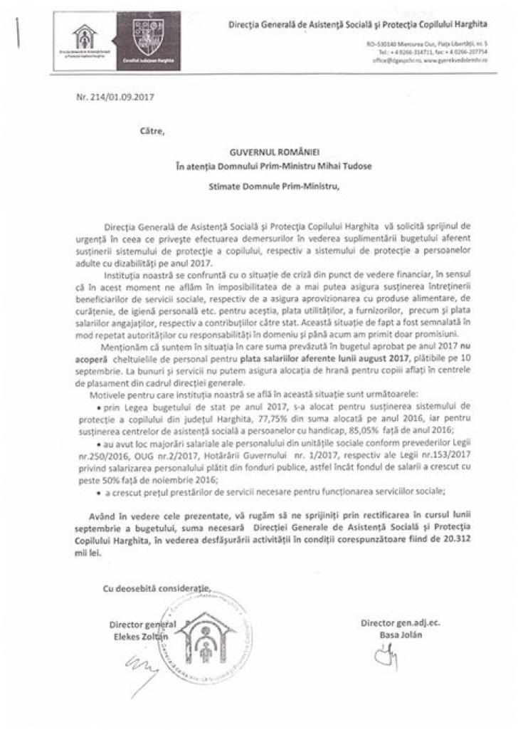 Apel disperat din Harghita către premierul Mihai Tudose