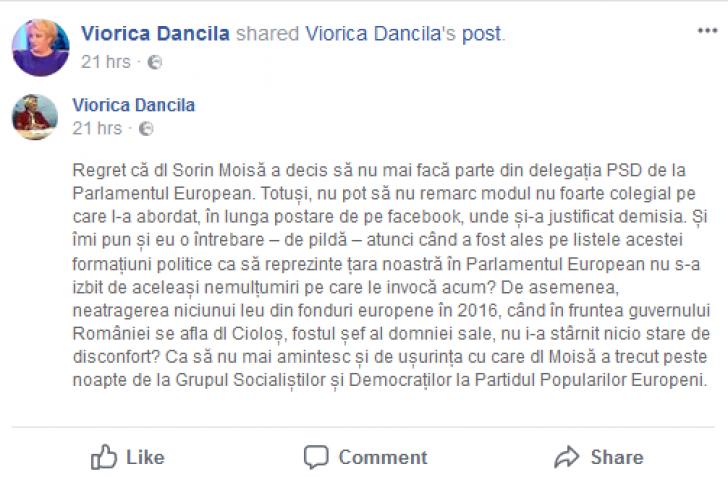 "Sorin Moisa, atacat fara menajamente de fostii colegi din PSD, aparat de ""dizidenti"""