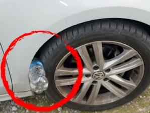 Ce se întâmplă dacă găseşti o sticlă de plastic băgată la roata maşinii. Eşti în mare PERICOL!
