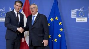 Cancelarul Austriei Sebastian Kurz, alături de președintele Comisiei Europene, Jean Claude Juncker