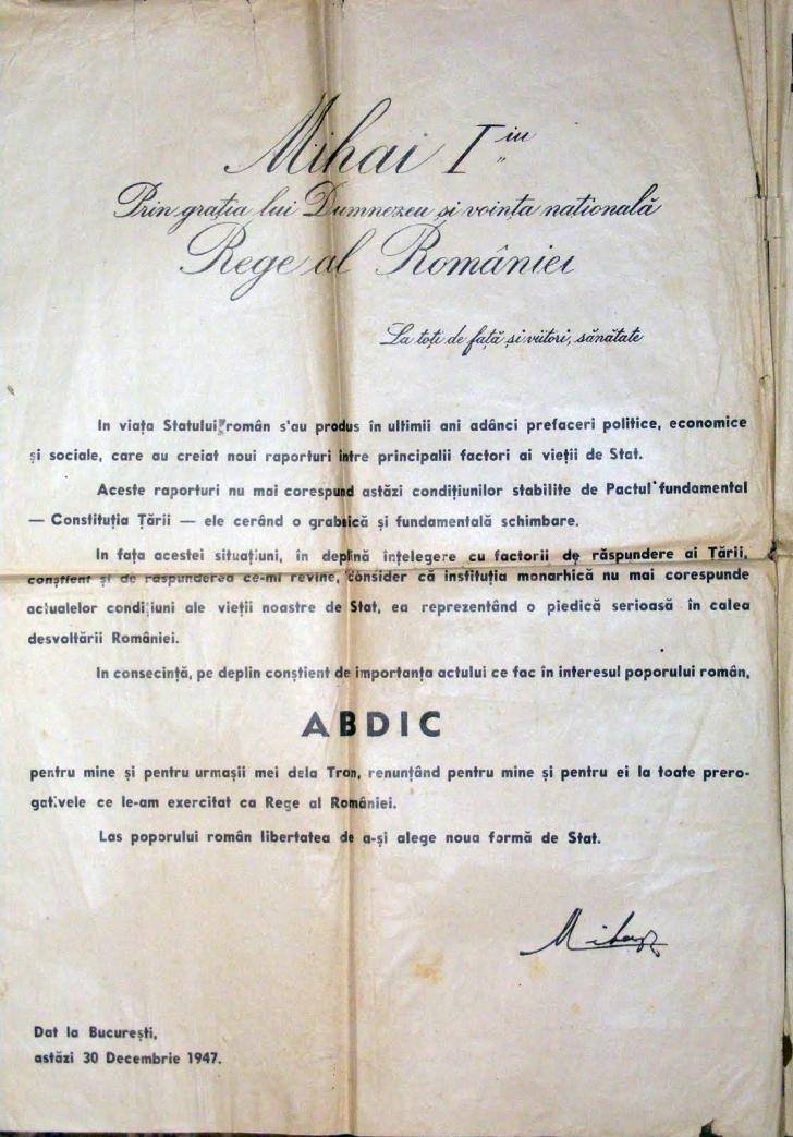Cum arată actul de abdicare semnat de regele Mihai, pe 30 decembrie 1947, la Palatul Elisabeta