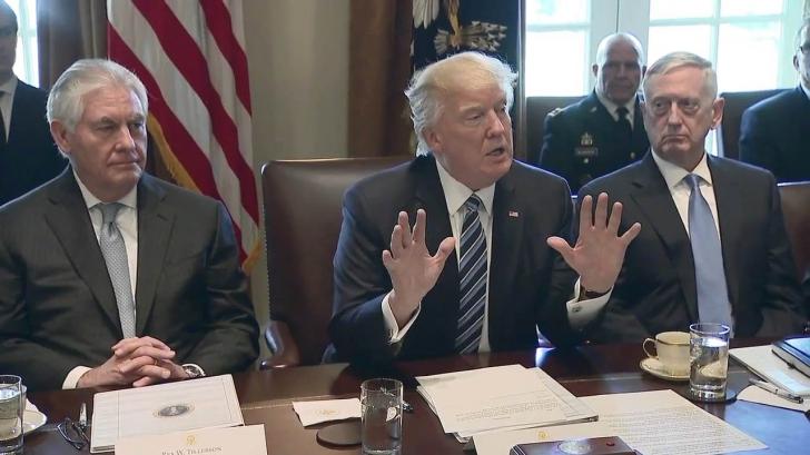 Donald Trump (centru) alături de Rex Tillerson (stânga) și James Mattis
