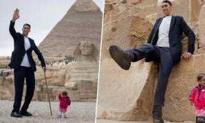 Cel mai înalt bărbat din lume s-a întâlnit cu cea mai mică femeie. Ce a urmat? FOTO