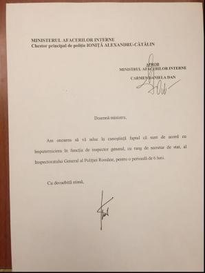 Raportul semnat de chestorul Ioniţă