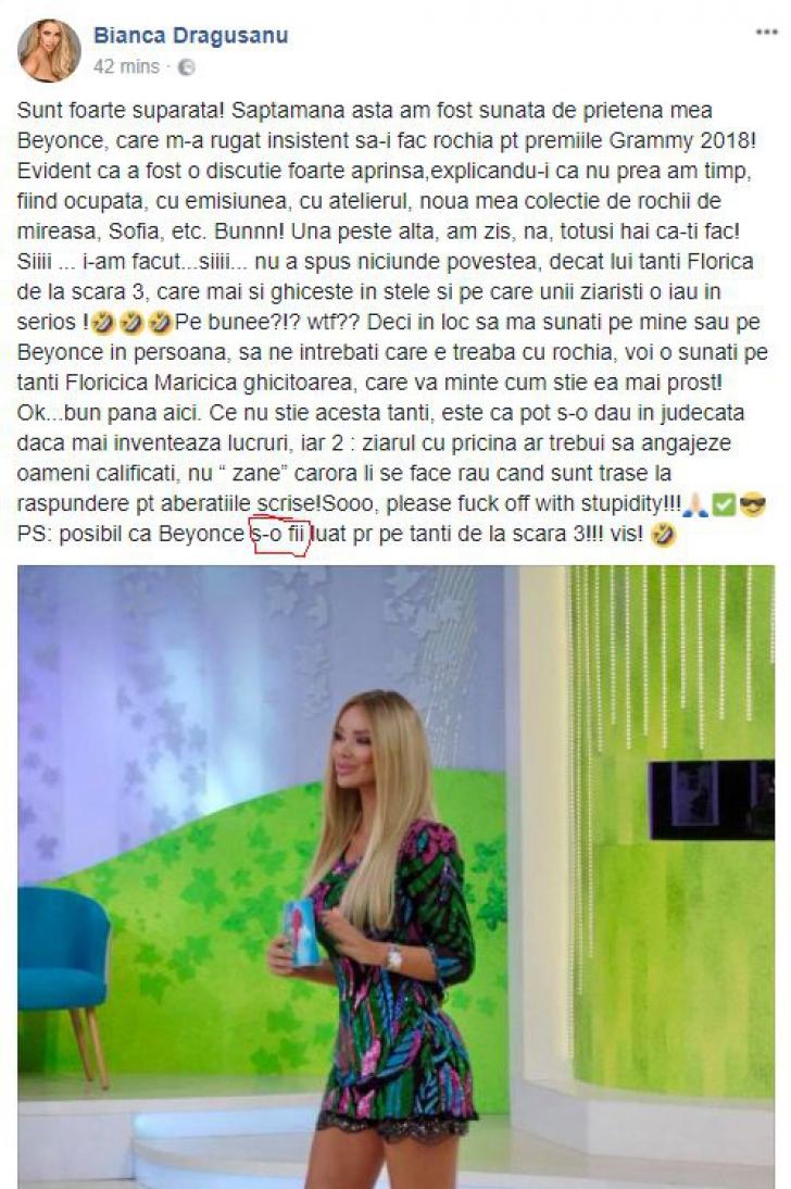 Bianca Drăgușanu s-a făcut de râs, în timp ce voia să se laude