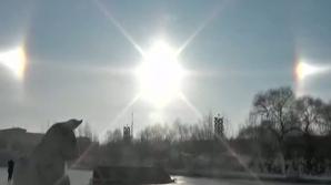 Fenomen rar: Trei sori pe cerul Chinei. Imagini spectaculoase!