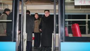 Kim Jong-un și soția în troileibuz