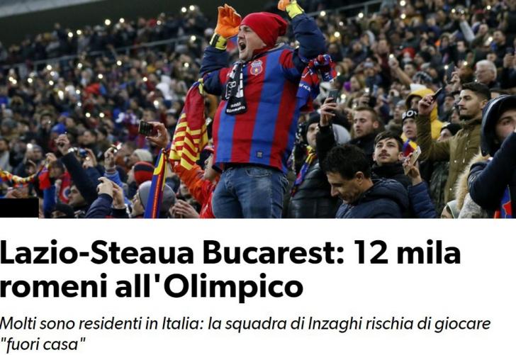 Italienii speriați de numărul uriaș de români care vor fi pe stadion la meciul #LAZIO-FCSB
