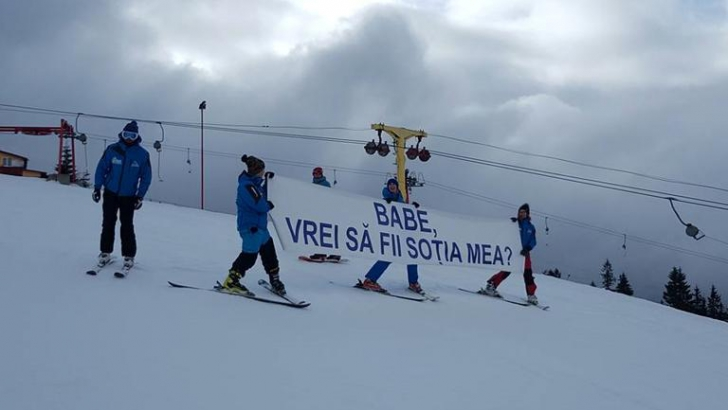 Cerere în căsătorie unică, pe o pârtie de schi din România