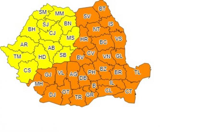 Avertizare meteo: Cod portocaliu de viscol şi ger şi Cod galben de ninsori. Ce zone sunt vizate