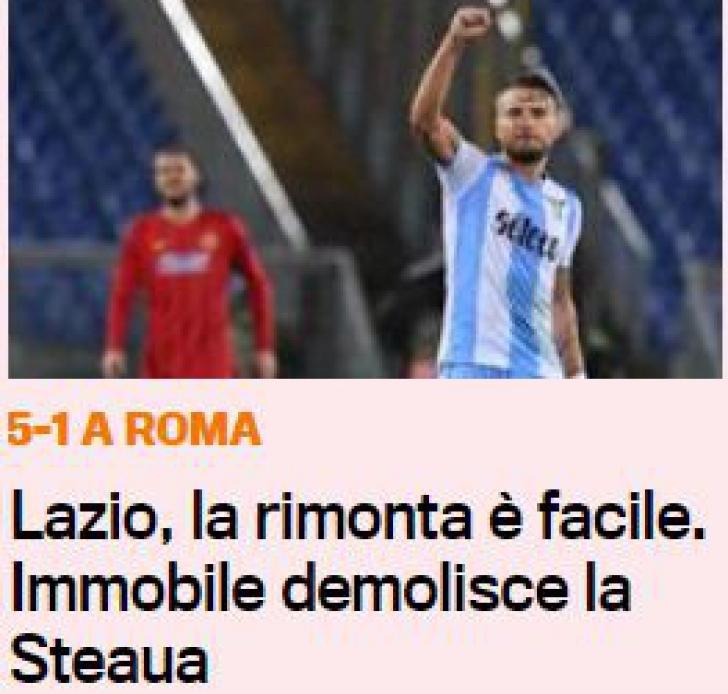 """Steaua, """"demolată"""" de Immobile. Italienii despre victoria răsunătoare obținută de Lazio vs. FCSB"""