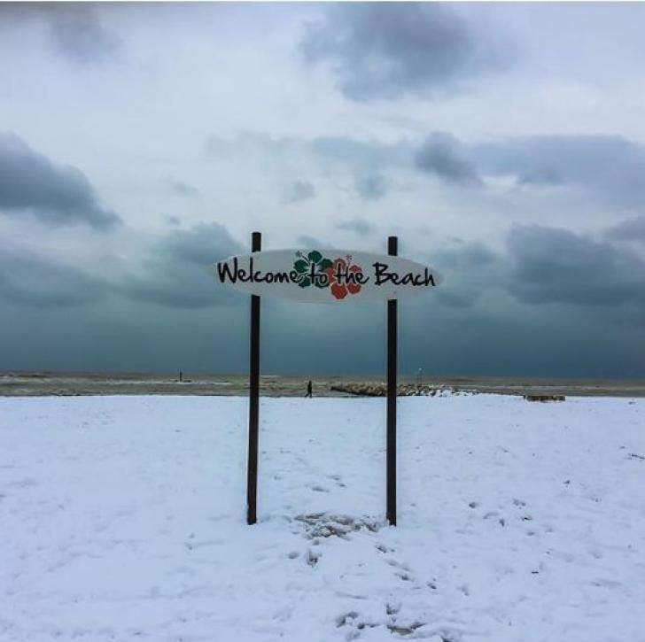 Zăpadă la Pescara, pe malul Adriaticii
