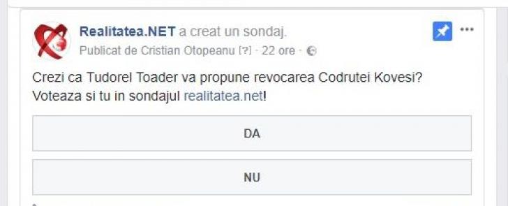 Ce au răspuns cititorii realitatea.net la o întrebare simplă legată de Toader și Kovesi