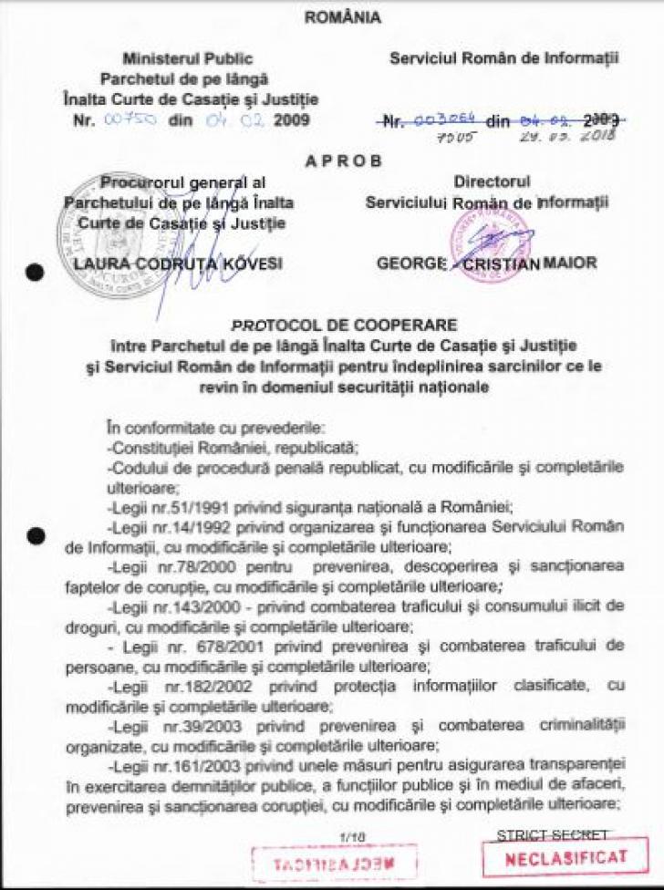 SRI a publicat protocolul cu DNA. Reacția ministrului Justiției