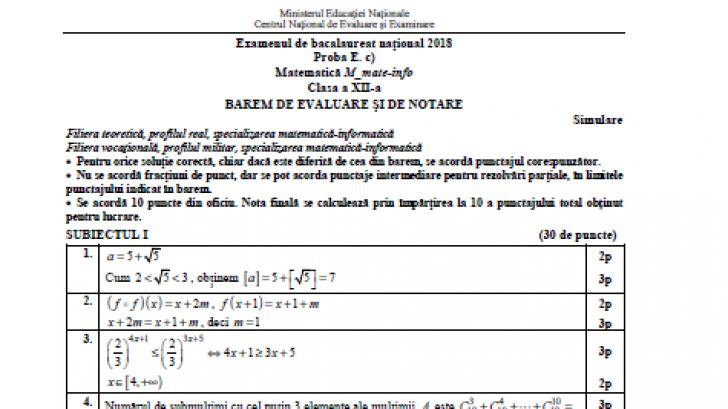 Subiecte Matematică simulare BAC 2018 EDU.ro. Consultă subiectele la Matematică M1 şi M2 şi baremul