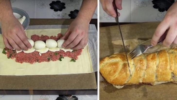 Reţeta care o să facă furori de Paști: Ruladă cu carne și ouă fierte