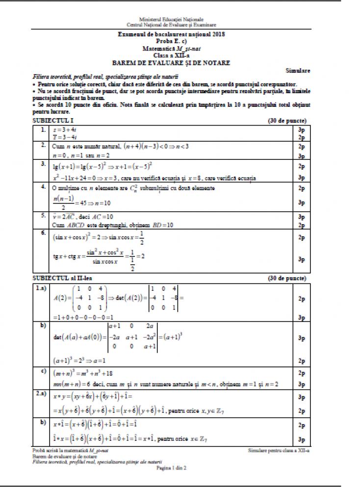 Subiecte Matematică simulare BAC 2018 // Subiectele şi baremele au fost publicate aici!
