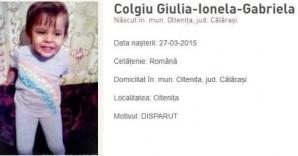 Fetiţa de 3 ani, dispărută din faţa casei din Olteniţa