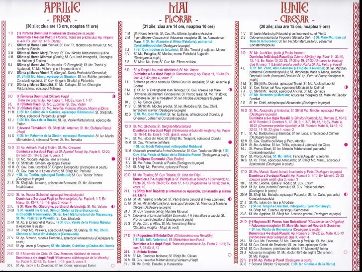 Calendar Ortodox 2018aprilie