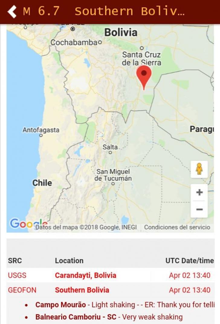 Cutremur în Bolivia